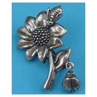 Sterling Brooch Flower, Bee Dangling Ladybug Signed