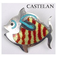 Castelan Mexico Sterling & Enamel Figural Fish Brooch