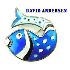 David Andersen Sterling Basse Taille Enamel Figural Fish Blue and White