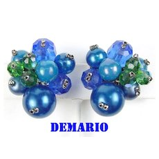 DeMario Earrings in Blue & Green Crystals and Beads
