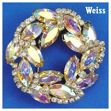 Weiss Wreath Shaped Brooch Aurora Borealis Navettes