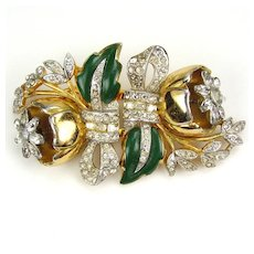 Coro Quivering Camellia Duette Green Enamel & RS