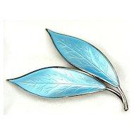 David Andersen Blue Basse-Taille Enamel Brooch Leaves