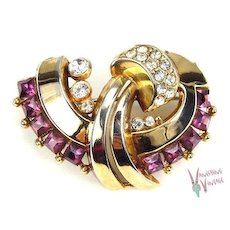Fabulous Retro Moderne Brooch Purple & White RS