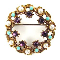 Pretty Circular Brooch with Purple RS, Faux Pearls Faux Turquoise Balls