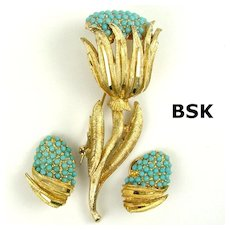BSK Faux Turquoise Bead Decorative Flower Demi Parure