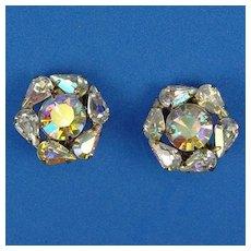 Weiss Sparkling Aurora Borealis Round Rhinestone Earrings