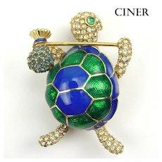Ciner Blue & Green Enamel & RS Figural Hobo Turtle Brooch