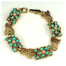 Decorative Bracelet with Faux Turquoise and Faux Coral Balls