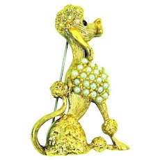 Pampered Poodle Brooch by Tortolani Faux Pearls + RS
