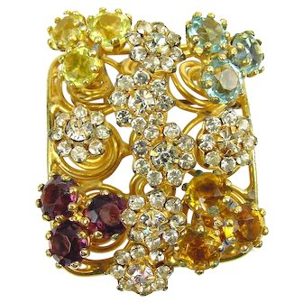 Vogue Jewelry Colorful RS Flowers & RS Trio's Purple, White, Yellows, Blue