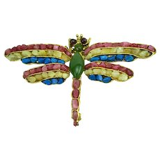 Swoboda Patriotic Figural Dragonfly Brooch Tumbled Semi Precious Stones