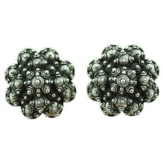 John Hardy Early Large Sterling Clip On Earrings Circles & Ball Design