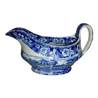 Blue Staffordshire Gravy Boat: Euston Hall, c. 1820