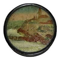 Papier Mache Snuff Box w/ Cathedral, c. 1840