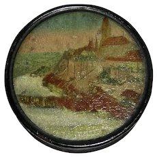 Papier Mache Snuff Box w/ Cathedral, c. 1840
