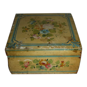 Yellow Painted Sewing Box w/Floral Decoration