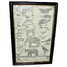Late 19th C Schoolgirl Pencil Sketch of Animals