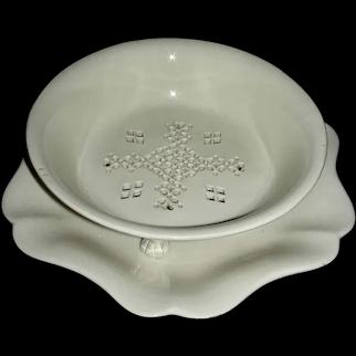 English Creamware Cress Drainer & Tray, c. 1820