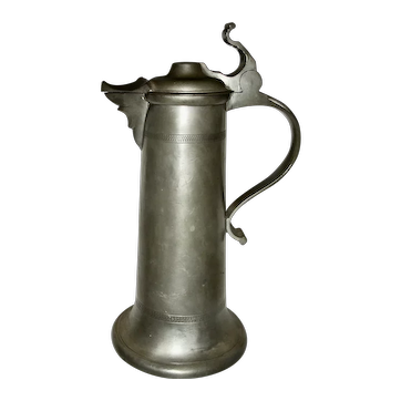 Tall 19th C Pewter Flagon