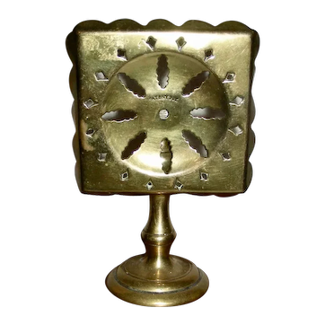 Miniature Pierced Brass Tilt-Top Table Candle Reflector 19th C
