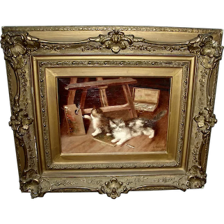 Charming Oil on Canvas of 2 Cats in Artist Studio Signed A. Virneuil