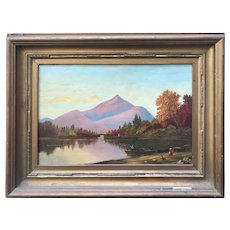 Primitive Mountain/Lake Landscape Late 19th C
