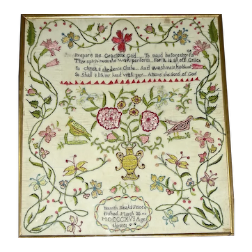Hannah Bleak's Needlework on Silk Sampler 1816