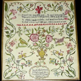 Hannah Bleak's Needlework on Silk Sampler 1816