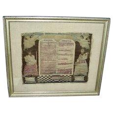 1744 Needlework of the 10 Commandments