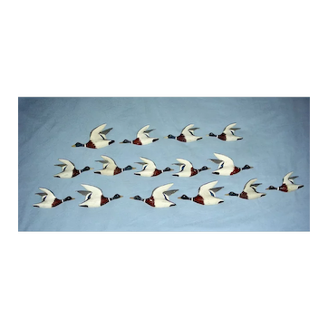 15 Miniature Flying Mallards by John Lee Baldwin