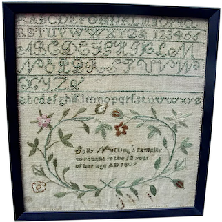Sally Nutting's Small Needlework Sampler,1807
