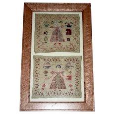 2 Needlework Samplers of Girls in Big Skirts, c. 1825