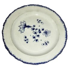 "8 ¼"" Blue Shell Edge Leeds Plate w/Flowers c.1810"