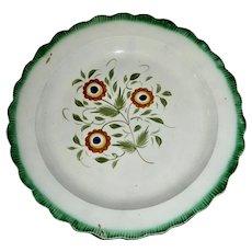 "8"" Green Shell Edge Plate w/ Flower c.1810"