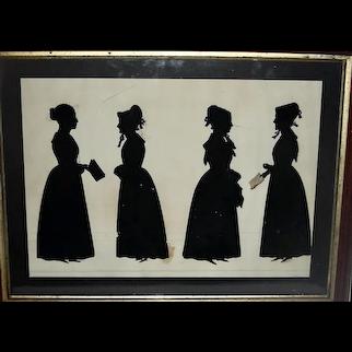Cut Silhouette of 4 Standing Women c. 1840
