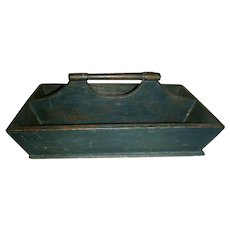 Blue Cutlery Tray or Carrier w/ Original Paint, Mid 19th C.