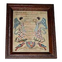Lebanon County Pennsylvania Watercolor Angel Fraktur, 1840