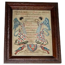 Lebanon County Pennsylvania Watercolor Angel Fraktur, 1840