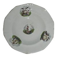 "5"" Arms of the States Staffordshire Toddy Plate, c. 1840"