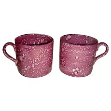 Pair of Pink Lustre Mugs or Coffee Cans, c. 1830-40