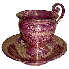 Large Pink Lustre Coffee Cup & Saucer, c. 1820