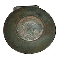 "8 1/2"" dia. Wooden Bowl in Original Crusty Green Paint w/ Decoration"