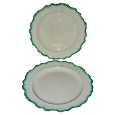 2 Green Shell Edge English Creamware Plates, c. 1800
