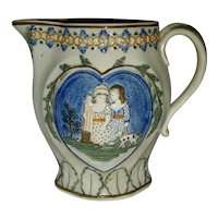 "7 ¼"" Pratt Decorated Molded Jug, c. 1790"
