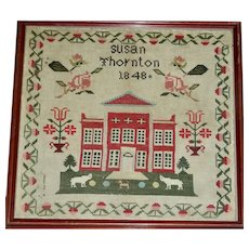 Susan Thornton's House Sampler,1848 w/Animals