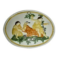 Molded Pearlware Plaque in Pratt Colors w/ 2 people & Goat, c. 1800