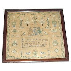 1826 English Needlework Sampler by Elizabeth Walkden