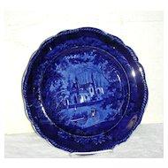Dark Blue Historical Staffordshire Plate ~ Tams Foliage Border