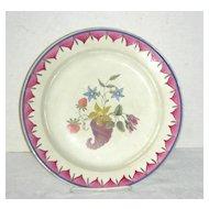 18th C Decorated English Creamware Plate w/ Cornucopia, Flowers & Strawberries